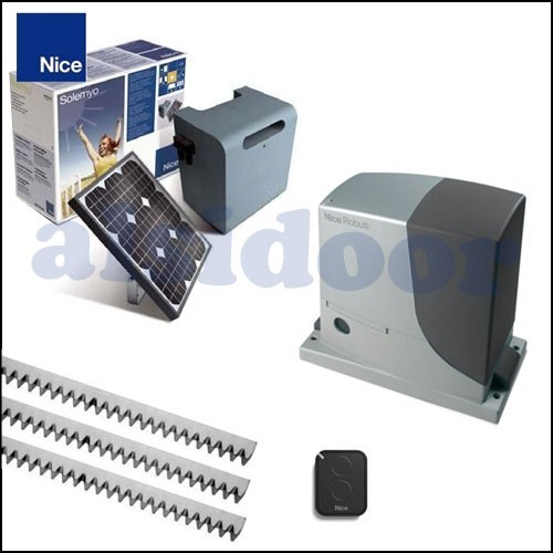 KIT SOLAR Corredera Nice ROBUS 400/600/1000 para puertas de hasta 400/600/1000kg