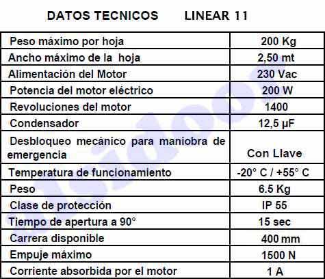 linear 11 vds caracteristicas tecnicas